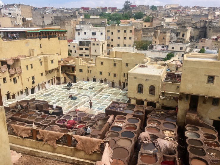 The tanneries, where they still use ancient methods to dye leather.